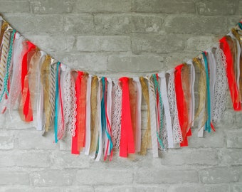 Garland. Rag Tie Garland. Party Garland. Nursery Garland. Nursery Bunting. Baby Shower Decor. Boho Decor. Boho Birthday Decor. Wedding Decor
