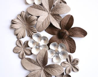 Mix of leather flower set of 11 pcs