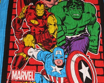 Gift for boy, Marvel Comics Quilt, Marvel Super Hero Quilt, Hulk, Captain America, Thor, Ironman Quilt, Lap Quilt, Wall Hanging