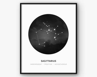 Zodiac Constellation Sagittarius Print, Astrology Sign Wall Art, Digital Printable Poster, Black and White Modern Home Decor, Gift, Present