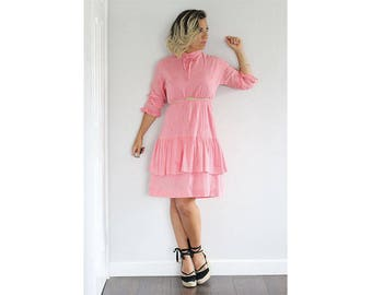 Vintage 1970s pink cotton frills and ruffles dress