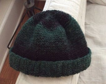 Green and black wool beanie