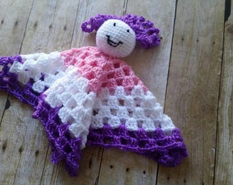 Crochet Lovey,  Doll Security Blanket, Newborn Baby Gift, Stripped Comfort Blanket, Purple Pink White Lovey, New Doll Lovey, Baby Toy, Ready