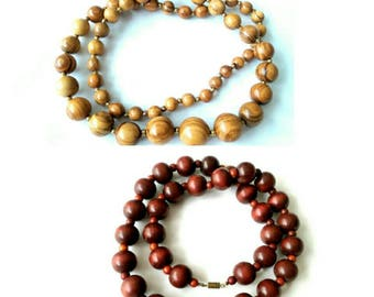 Vintage Red & Brown Sandalwood Mala Prayer Beads and Carved Bone Beads Necklaces - 3 Styles (196)