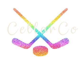 Rainbow Glitter Hockey Stick Digital Download, Colorful Hockey Stick JPG, Hockey Sticks JPG, Hockey Stick Download, Hockey Stick Printable