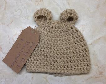 Crochet newborn teddy bear hat, teddy bear beanie, newborn bear hat, crochet hat, baby shower gift