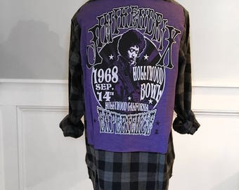 Jimi Hendrix Flannel Tee Unisex Men's new size small buffalo plaid black and gray flannel shirt Jimi Hendrix experience purple t shirt