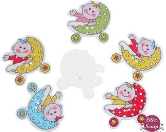 5 large pram baby 3.4 cm wooden buttons - 2 holes wood carriage buttons