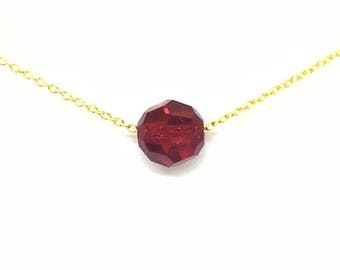 Gold plated Choker necklace yellow red/burgundy swarovski.