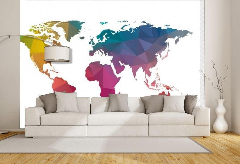 World Map Texture, Colorful World Map, Wallpaper World Map, Education Map  Decal,