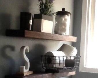 Floating Shelves, Bathroom Shelf, Kitchen Shelving, Book Shelf, In Dark  Walnut,
