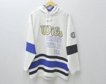 Wilson Hoodies Wilson Sweatshirt Vintage 90's WILSON Big Logo Spell Out Pull Over Jacket Sweater Size L