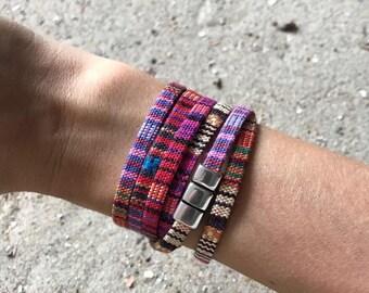 Boho wrap bracelet met DQ magneetslot.