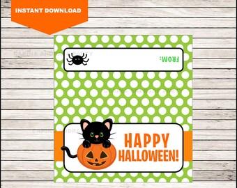 Black Cat Halloween Bag Toppers - Halloween Birthday Bag Toppers - Halloween Bag Labels - Halloween Treat Bags - Halloween Treat tags