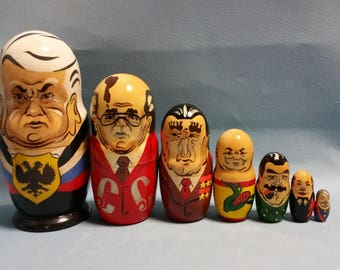 Vintage Matryoshka Stacking Dolls, Set of 7, Soviet Leaders Design. Russian Nesting Dolls