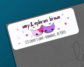 Valentine Address - Valentine Cat - Return Address Labels - Address Label Sticker - Cat Valentine's Day - Housewarming Gift - Cat Lovers
