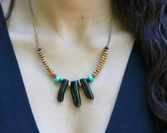 Black Coral Spiked Necklace/ semiprecious stone necklace/ wood necklace