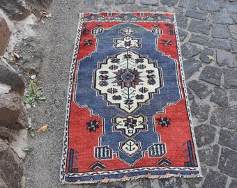 Blue Rug Red Rugs Antique Rug Unique Rug Wool Rug Organic Rug Gift Rug  Floral Rugs