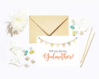 Will You Be My Our Godmother? Single Postcard With Envelope Christening Baptism