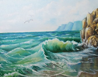 Landscape painting, seascape - Ocean waves, original oil painting, large wall art, wall decor, original artwork