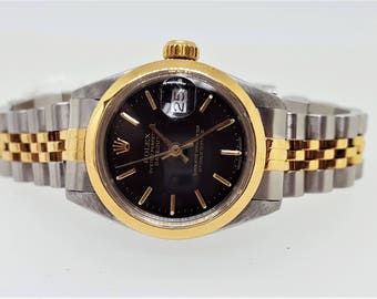 1980 Ladies Rolex Two Tone Jubilee Band Stainless & 18K Oyster Perpetual Datejust Black Dial M#69173