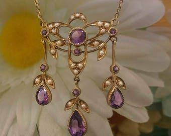 Art Nouveau Style Amethyst Necklace