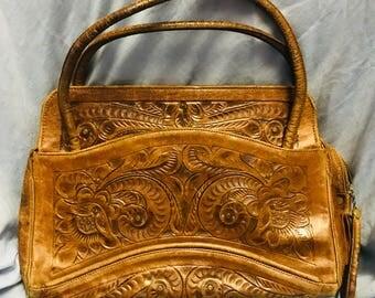 Vintage leather tooled handbag purse 1970s 70s hippie flowers handmade
