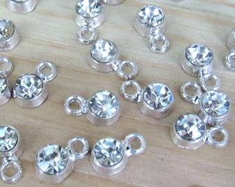 Tiny Rhinestone charms, set of 20,  diamond charms, silver charms, small charms, tiny pendant, silver pendant, silver charm, clear glass
