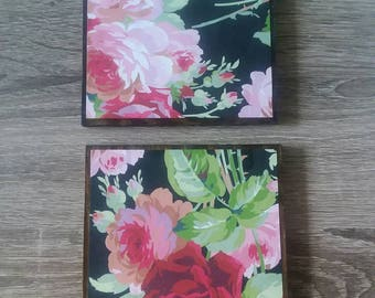 Wooden Floral Coasters; set of 2 Coasters; Pink Coasters