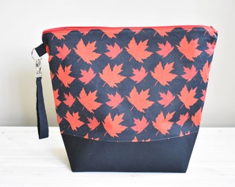 Maple Leaf Project Bag, Large Zippered Bag for Knitting or Crochet