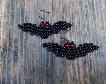 Halloween Bat Earrings, Halloween Holiday Vampire Bat Beadwork, Seed Bead Earrings, Holiday Theme Jewelry, Halloween Jewelry, Earrings Black