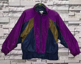 Rare Vintage 90's Bocoo Multi Colour Abstarct Art Windbreaker Jacket size X-Large XL / Multi Colour jacket / Nylon Jacket / Colour Block