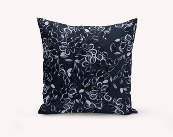 Navy White Throw Pillow, Navy White Pillow Cover, Navy Leaf Pillow, Navy Blue Pillow, Navy Decorative Pillow, Navy Cushion, Throw Pillow