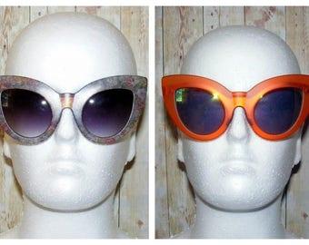 Vintage 50s cats eye sunglasses 2 interchangeable frames floral/orange (TA01)