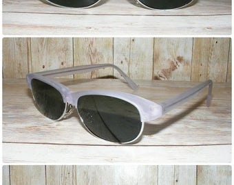 Vintage 80s deadstock slim clubmaster sunglasses clear matt grey frame (SG08)