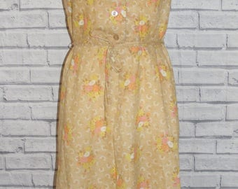 Size 14 vintage 60s sleeveless a-line collared button dress brown floral (IB97)