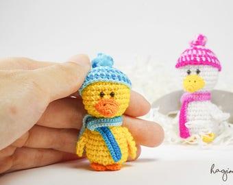 Miniature crochet Duck - Tiny duckling crochet - Amigurumi animals - Made to order