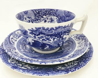 Spode Blue and White 'Italian' Trio - Vintage - Tea Plate, Cup and Saucer