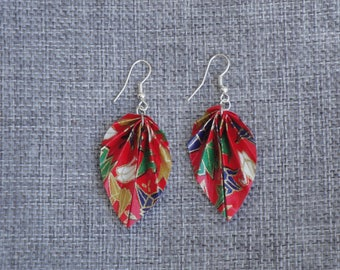 Earrings of Japanese origami paper sheets