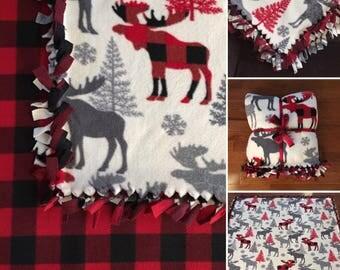 LARGE Winter Rustic Lodge Fleece Tie BLANKET  55x65  Plaid Deer, Buck, Moose, Wilderness, Bears, Santa, A Christmas Story Leg Lamp
