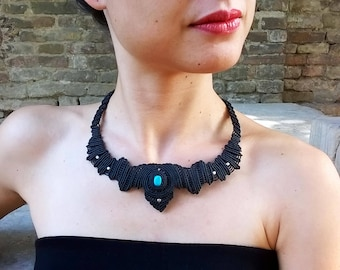 Hecate-Necklace with turquoise and silver beads-necklace with turquoise and silver beads