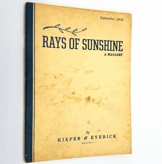 Rays of Sunshine - A Magazet Vol. VII, No. 9, September 1936 Kiefer & Eyerick Mortuary