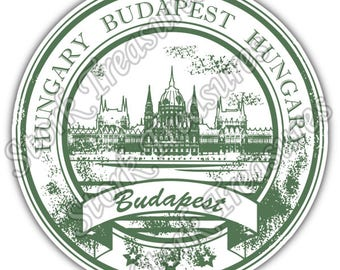 Budapest Hungary Country Vintage Stamp Car Bumper Vinyl Sticker Decal