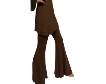 brown flared trousers MINI SKIRT COMBO flares leggings s m 8 10 12 psy boho