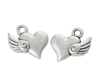 50 charm pendant flying heart 14 mm x 13mm, silver