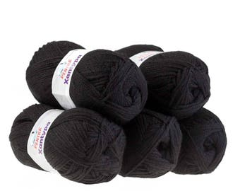 Orla #454 black 5 x 100 g yarn, knitting wool, wool, hand Knitting yarn