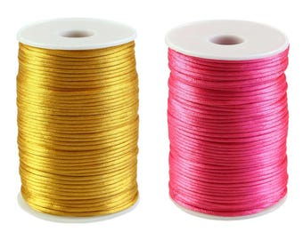 90m satin cord 2 mm, 100% polyester, free choice of color (color - pink)