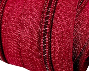 6m of endless zipper 5mm with 15 zippers and end 163 Siam Red