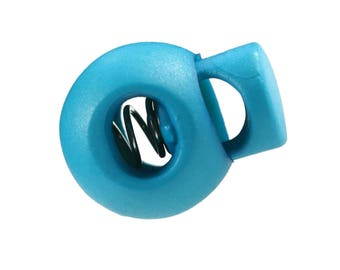 10 Cord stoppers around 15 x 19 mm, threading 4 x 5.5 mm, different color choice (Colour: Turquoise)