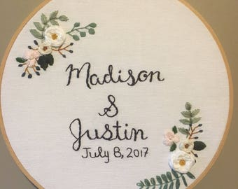 Embroidery hoop CUSTOM wedding gift, anniversary, engagement, florals to coordinate with bride's bouquet